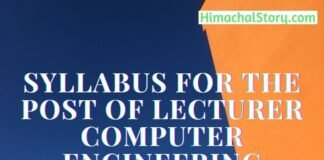 Syllabus for the Post of Lecturer Computer Engineering