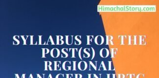 Syllabus for the post(s) of Regional Manager in HRTC